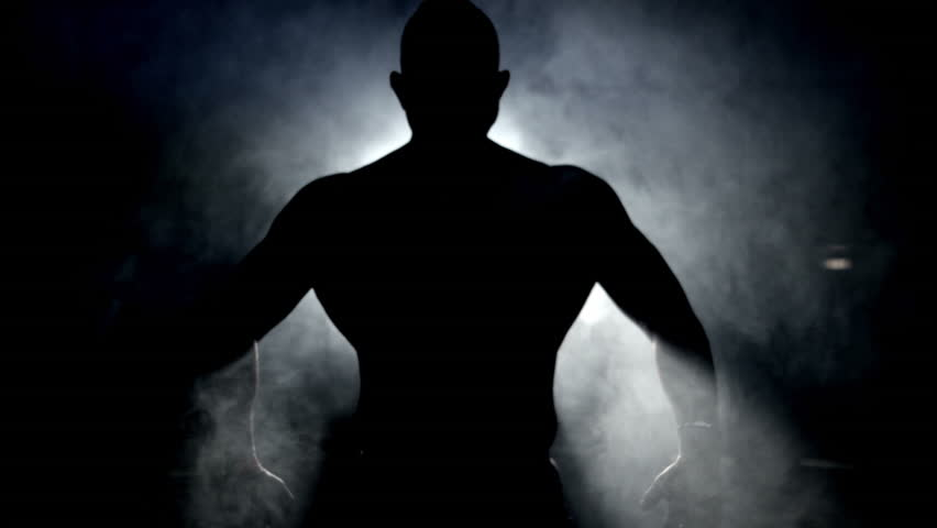 Bodybuilder posing back