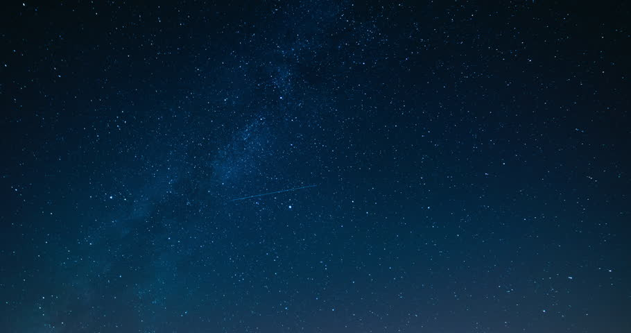 Starry night sky with meteor shower Milky Way moving in time lapse