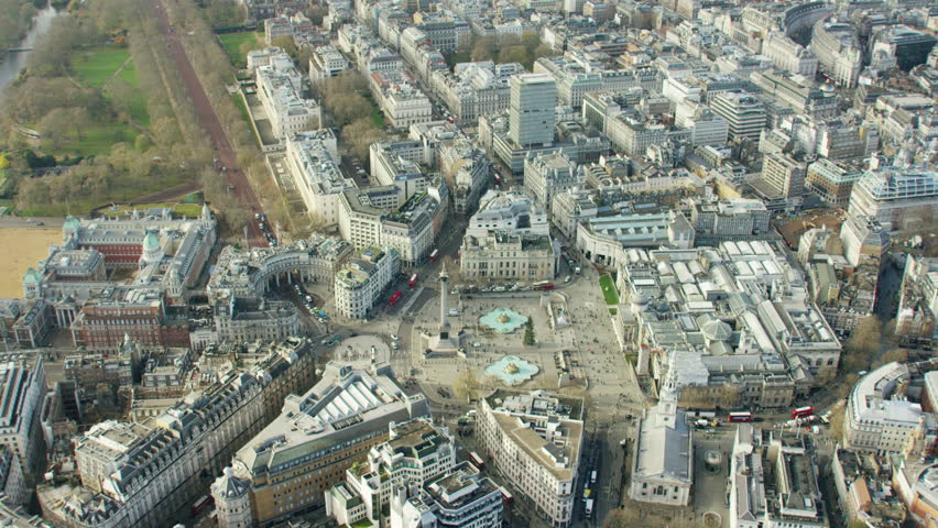 Aerial view of London's Nelson's Column and city parks #18717140