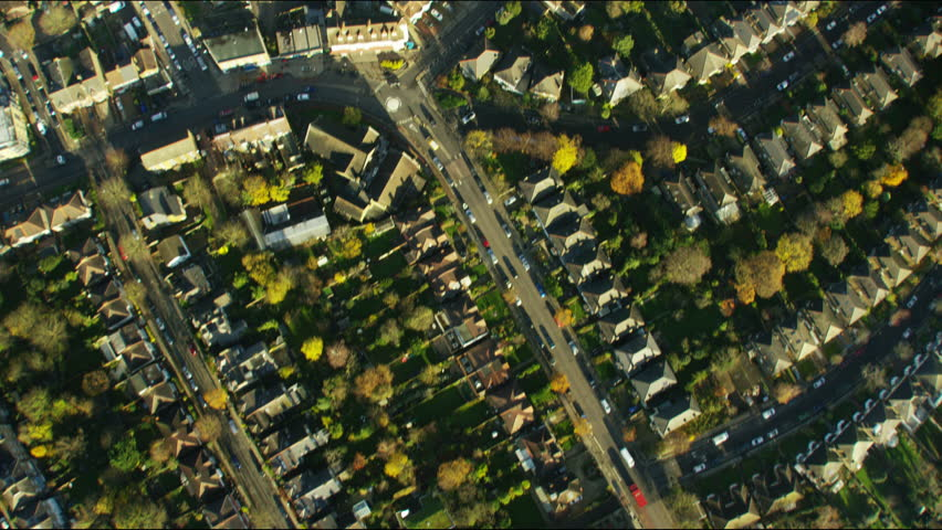 Aerial view of British suburban residential communities in London