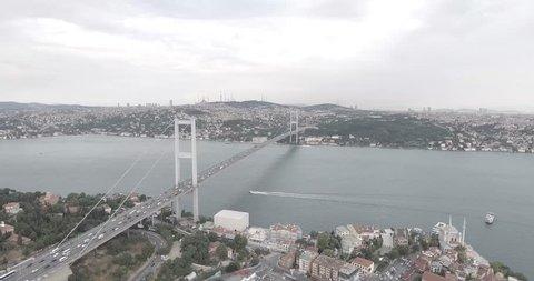 Aerial Istanbul bridge Bosphorus, turkey, Boshporus