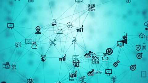 internet of things, background from the chaotically slow moving connected things