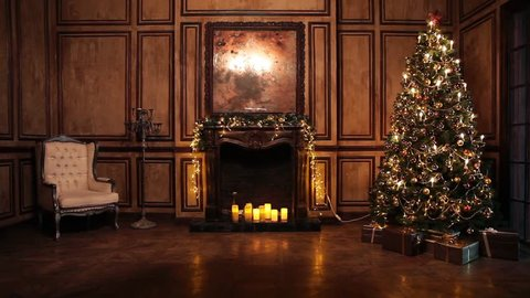 Classic New Year Tree illuminated. Christmas decoration in grunge room interior