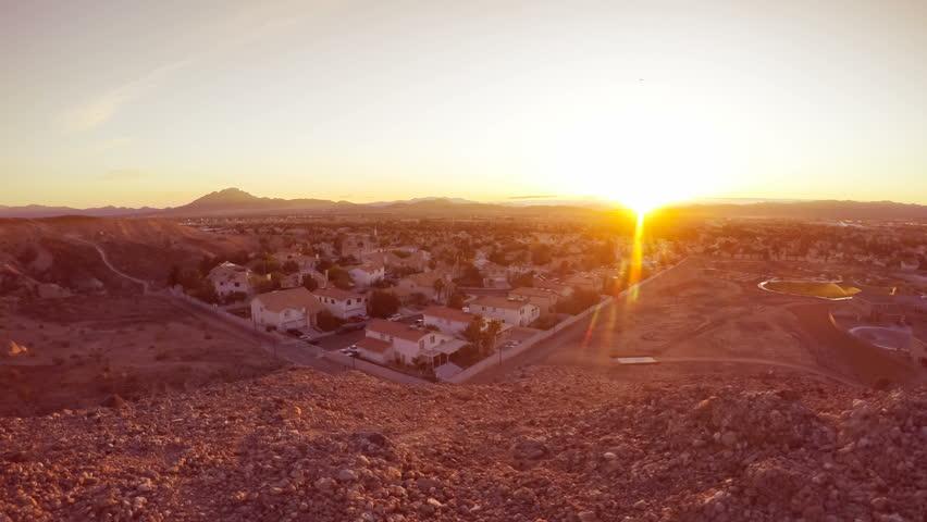Time lapse sunrise over southwestern suburban neighborhood