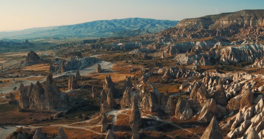 Aerial view of fairy chimneys at Urgup, Cappadocia, Turkey, 2016