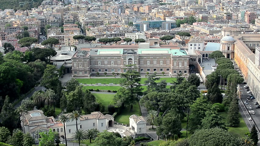 Aerial view of the Vatican gardens, the Vatican Museums (Musei Vaticani) and St.Peter's Square (Piazza San Pietro) in Vatican, Rome. Panning from left to right. | Shutterstock HD Video #18790610