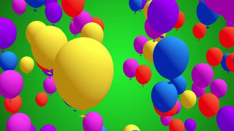 Colorful Balloons flying in slow motion, Festive, Party Video Background, Lots of colorful balloons rise up over green background full hd and 4k.