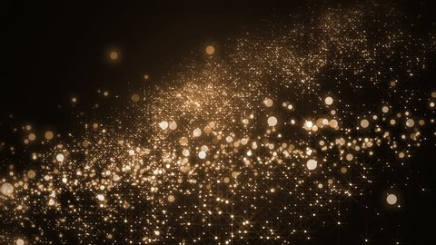 Background gold movement.Universe gold dust with stars on black background. Motion abstract of particles. VJ Seamless loop.