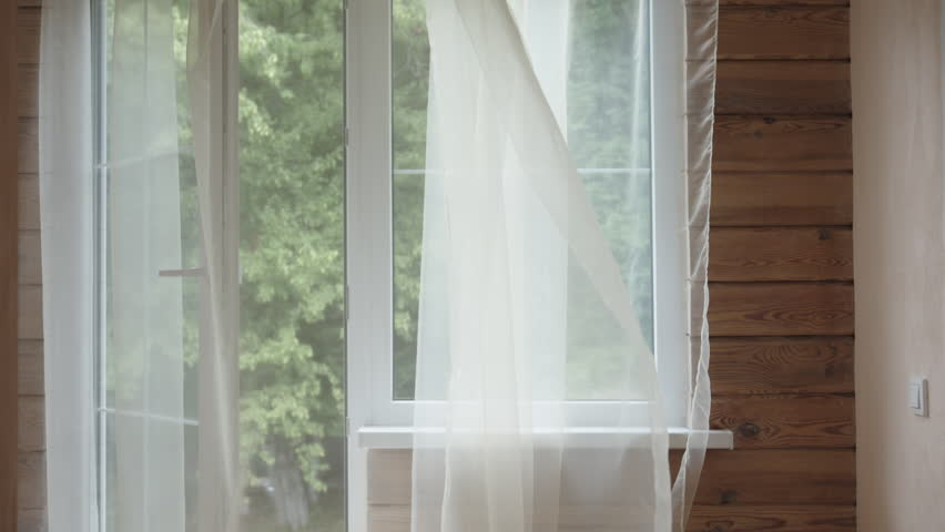 Stock Video Of White Sheer Curtain Blowing In The