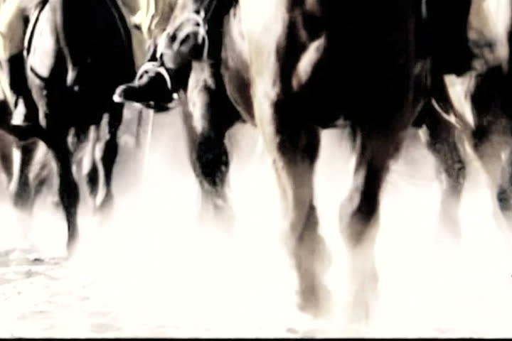 slow-motion of cavalry horses.