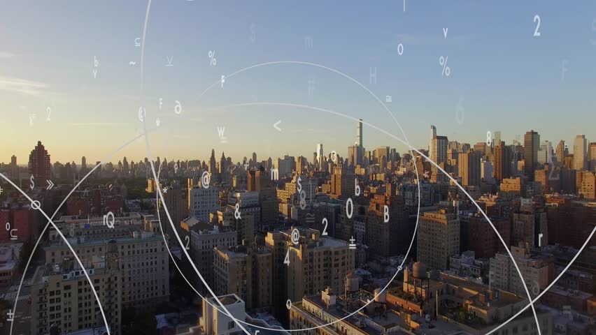 Data stream numbers connected with cityscape background. economy growth innovation idea concept
