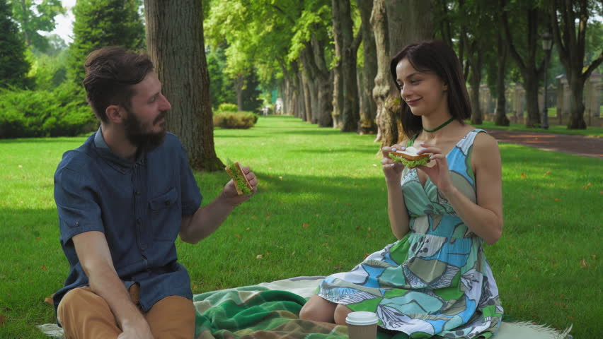 bdf7faaa70a7 Young couple boy and girl in a summer picnic at the park eating sandwich