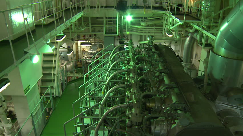 Engine room of a cargo ship. The engine room is the heart of the ship providing mechanical and electrical power for the entire ship.