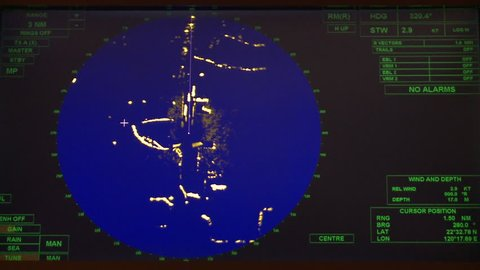 Radar in a ship maneuvers simulator. Port of Kaohsiung, Taiwan. The maneuvers simulators are used to train workers and control any risk.