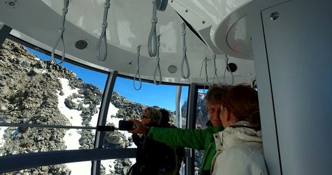 COURMAYEUR, IT - AUGUST 17, 2016: Sky way, cable car linking Courmayeur to Chamonix through the extraordinary massif of Mont Blanc.