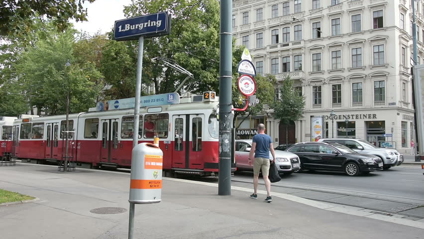 August 16, 2016,    A tram stop on the Ring in Vienna