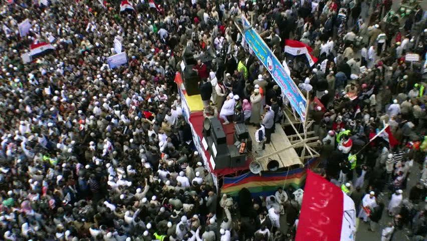 CAIRO, EGYPT - NOV 19: A crowd gathers in Tahrir Square on November 19, 2011 in Cairo, Egypt as part of ongoing political demonstrations protesting the military government.