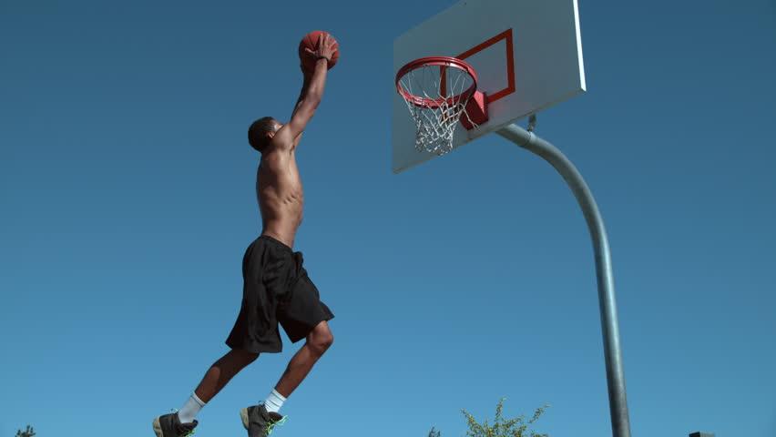 Super slow motion shot of basketball basketball slam dunk, shot on Phantom Flex 4K #19000270