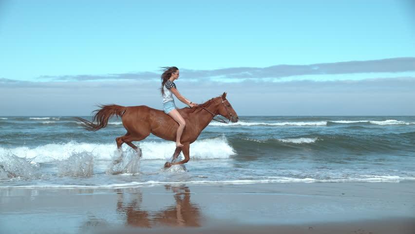 Super slow motion shof of woman riding horses at beach, Oregon, shot on Phantom Flex 4K