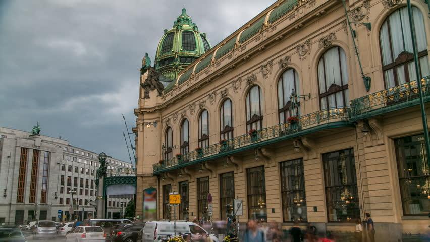 View of Municipal House and their art nouveau facades timelapse in Prague, Czech Republic. Cloudy sky #19030474