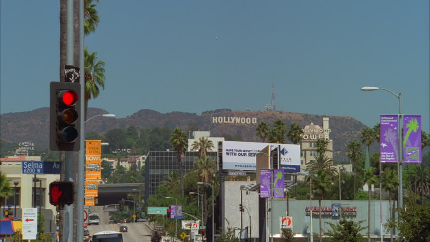 Day Wide Hollywood Area Push Stock Footage Video 100 Royalty Free