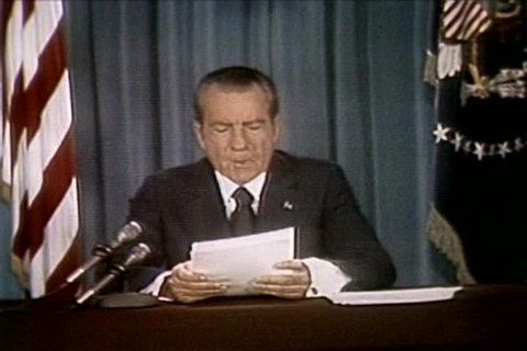 President Richard Nixon discusses blackmail and the cover up of the Watergate scandal at the release of the Watergate tapes in the 1970s. (1970s)