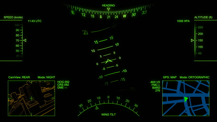 Animated head-up display (electronic airplane cockpit). Loop.