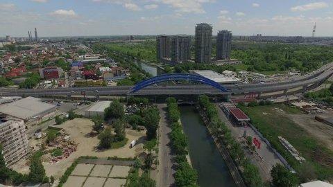 4K Aerial Shot Of Dambovita River Crossing Bucharest, Romania