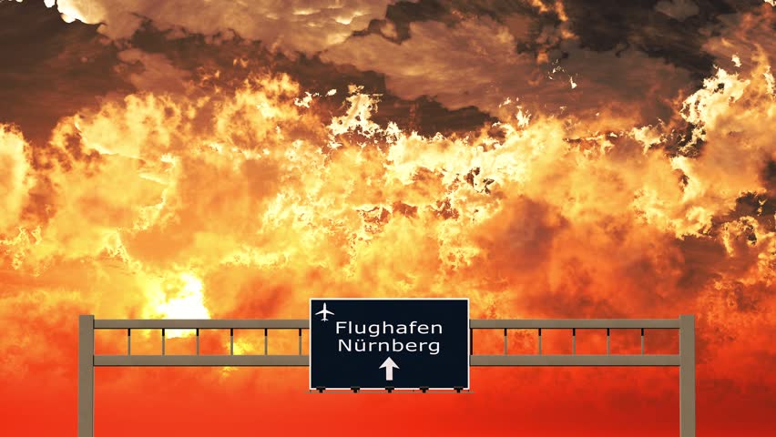 3d Animation Nürnberg 4k passing vienna austria highway sign in the sunset 3d animation