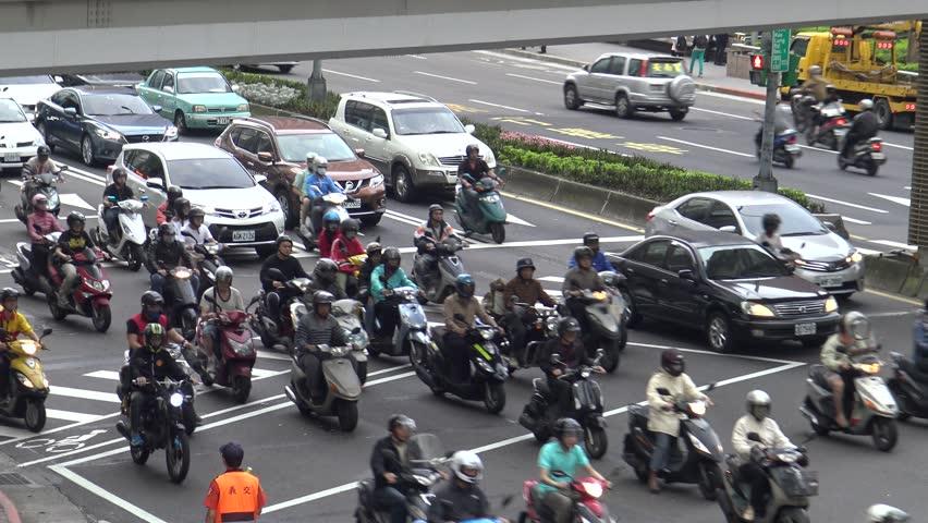 Taipei, Taiwan-18 May, 2016: 4K Aerial Traffic Cars, Motorbikes and
