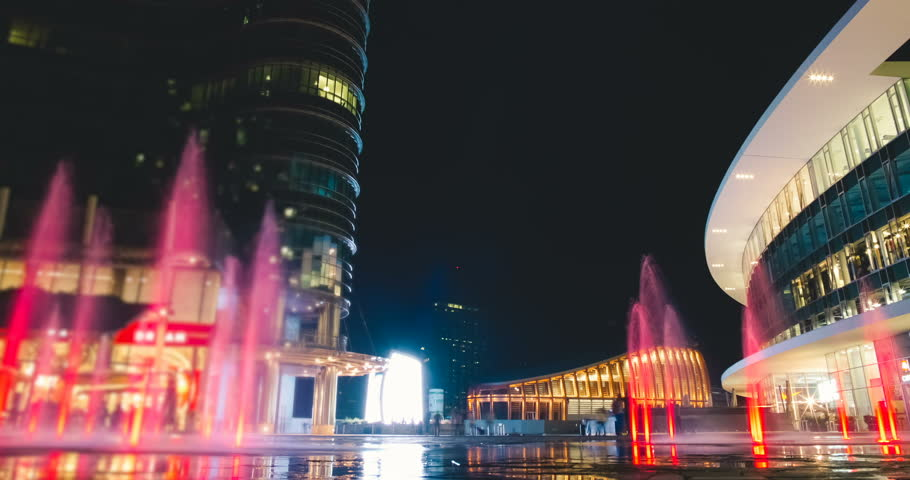Milan, Italy   August 2016: Piazza Aulenti With Colorful Fountains By Night    4K