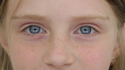 Beautiful young girl indoor, portrait children close up