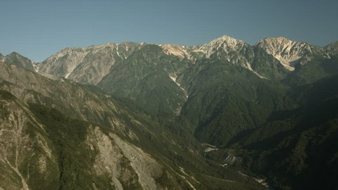 Hakuba mountains in morning, flat color