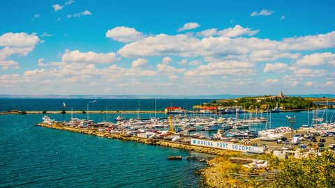 Timelapse 4k: Port in Sozopol. Sozopol is an ancient seaside town located 35 km south of Burgas on the southern Bulgarian Black Sea Coast. Today it is one of the major seaside resorts in the country.