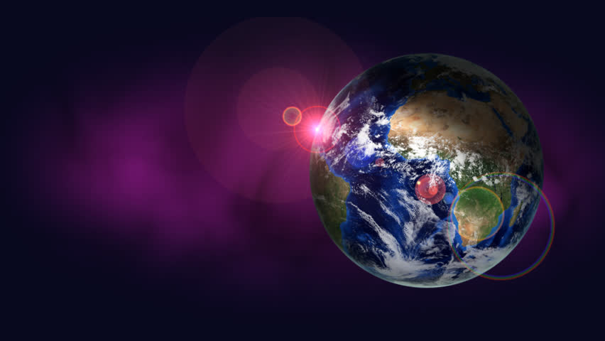 Orbiting earth on purple background with lens flare. Seamless loop. | Shutterstock HD Video #19179760
