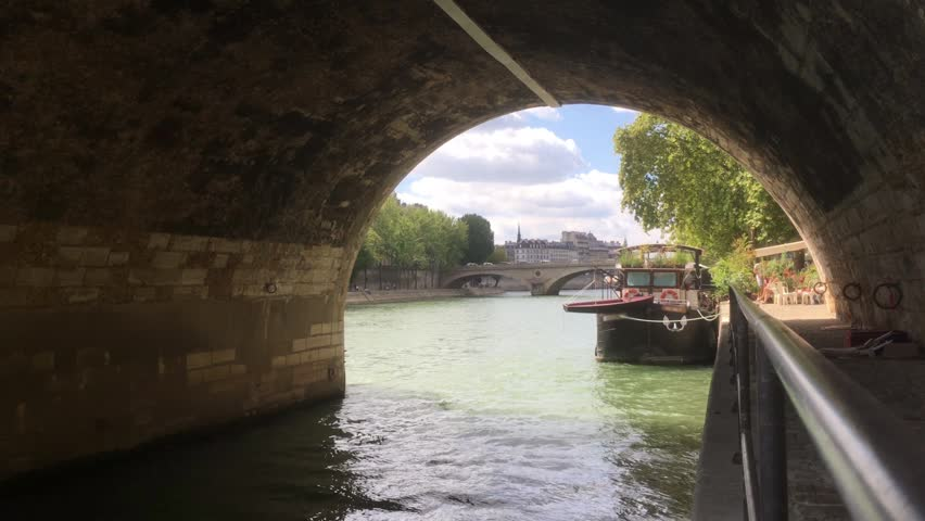Cinemagraph Loop Sunny Day Two Stone Bridges Across River Town - A long river