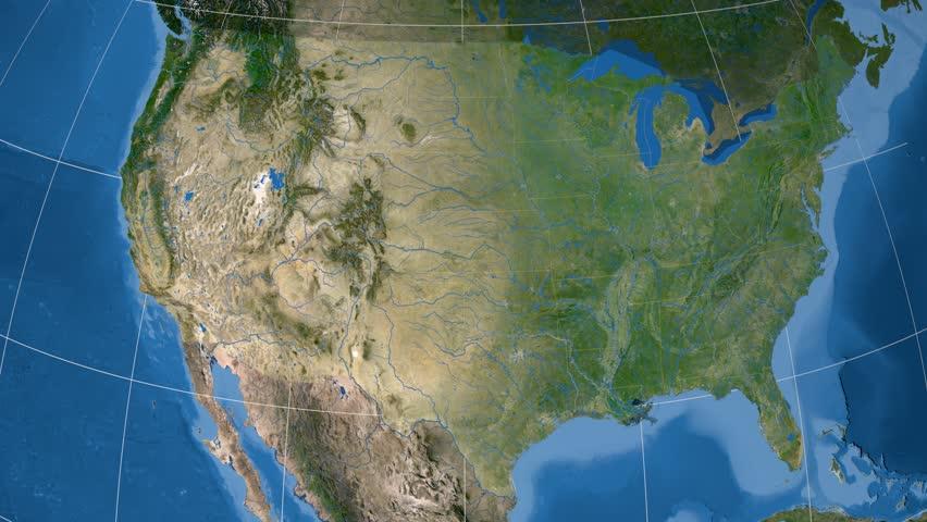 Arizona Map Stock Footage Video Shutterstock - Satellite map of usa