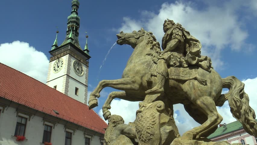 Caesar Fountain in Olomouc 1725, on the Upper Square, culturally significant monument, In the background the city hall, Europe, EU