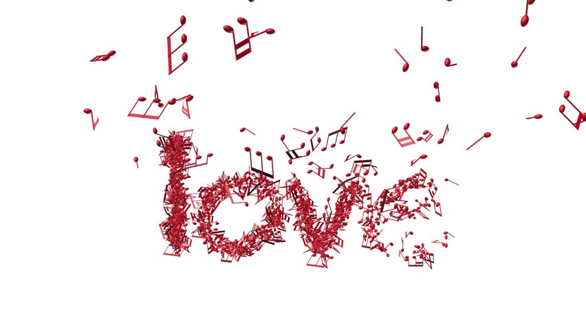 Word Love In Shape Of Music Notes Zoomout