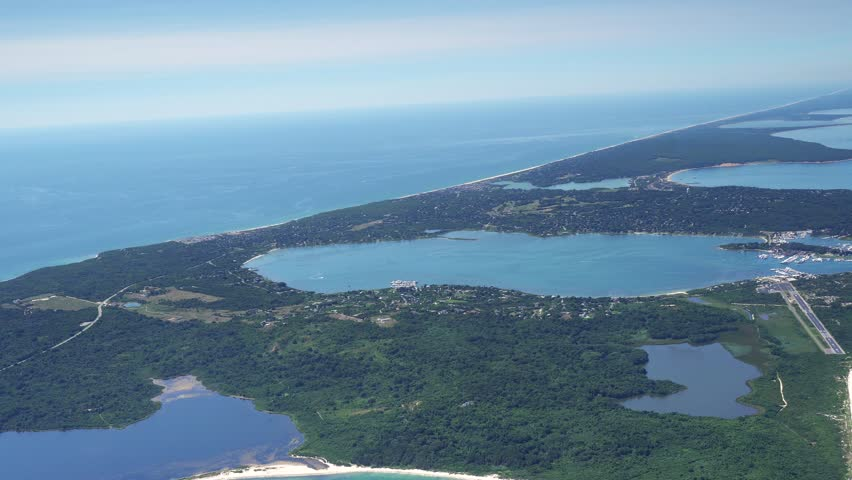 Montauk AERIAL, Eastern LI, a hamlet located in the town of East Hampton in Suffolk County, New York