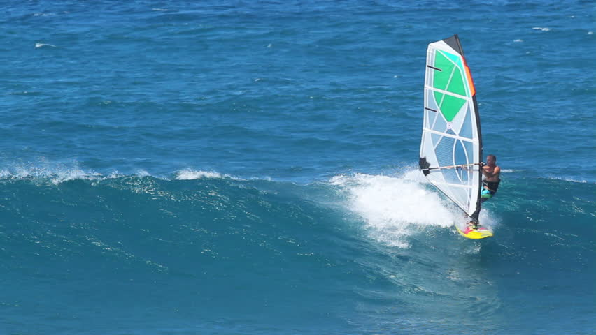 MAUI, HI - February 2: Windsurfers sail at the world famous Ho'okipa Beach Park on on the North Shore of Maui. The great wind and waves made for extreme windsurfing February 2, 2012 in Maui, HI.