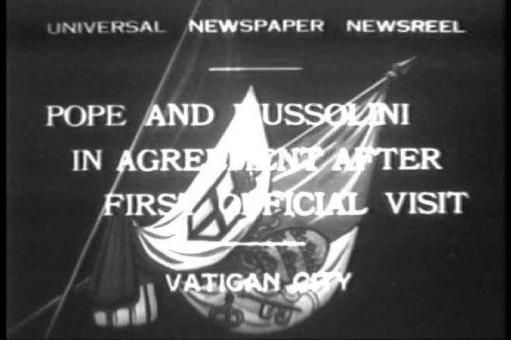 Pope Puis IX and Benito Mussolini are in agreement after their first official visit in Vatican City. (1930s)