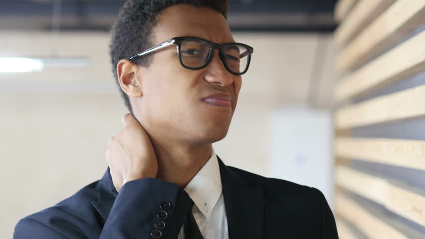 Tired Black Businessman in Suit with Neck Pain, Portrait