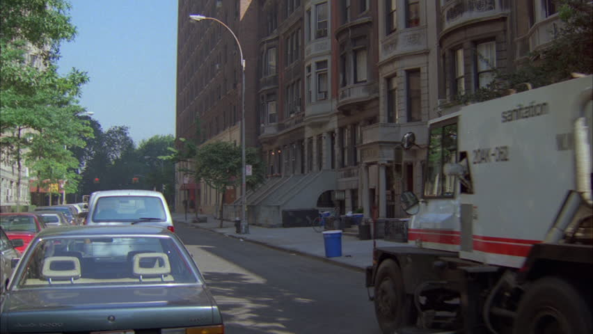 Stock Video Of Day Push Line Brownstone Apartments Street - Nyc street sweeping map