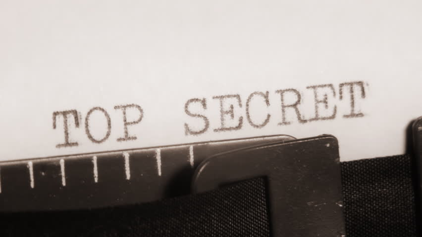 TOP SECRET. Typewriting. Video clip with audio. Subtitles can be enlarged by editing the HD version to PAL or NTSC.