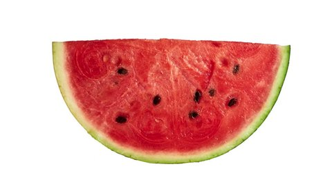 Eating slice of watermelon stop motion isolated