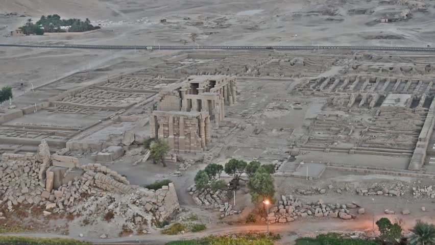 Aerial view over famous ancient Ramasseum temple on the west bank of Luxor in Egypt