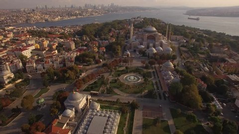 Aerial footage of Hagia Sophia in Istanbul city. Amazing shot. Istanbul in 4K