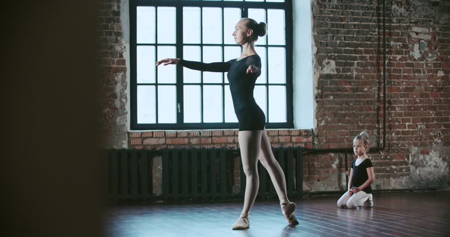 adult ballerina teaching a little girl to dance class loft design