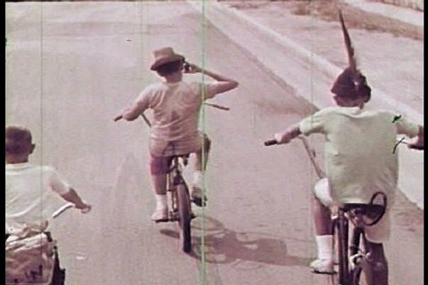 A Boy In Monkey Mask Experiences Brake Failure On His Bike 1963 And Gets